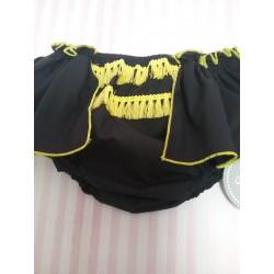 Braga falda negra con detalles amarillos